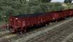 Vagones bordes Renfe Xfv y Xfhv 380000, rojo (caja de madera, carga de carbón)